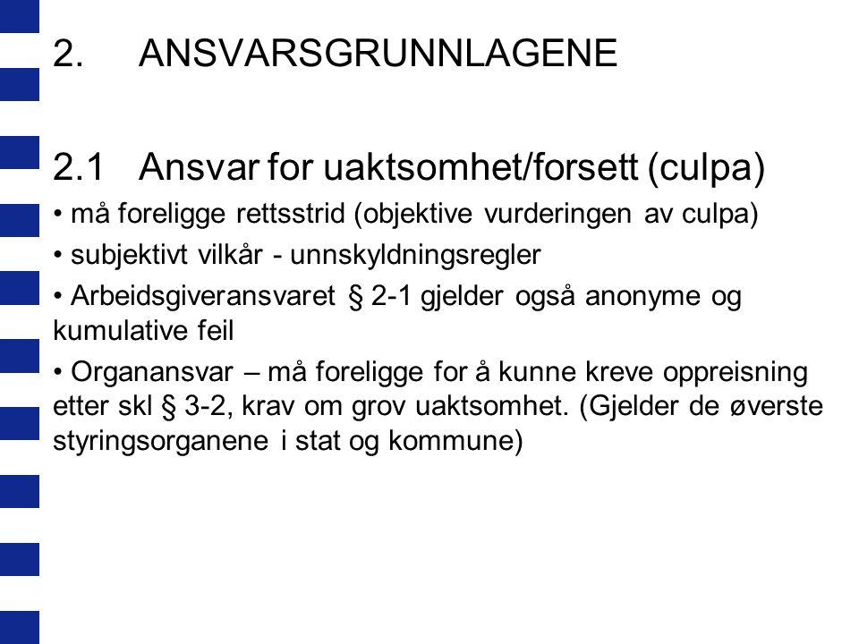 2.1 Ansvar for uaktsomhet/forsett (culpa)