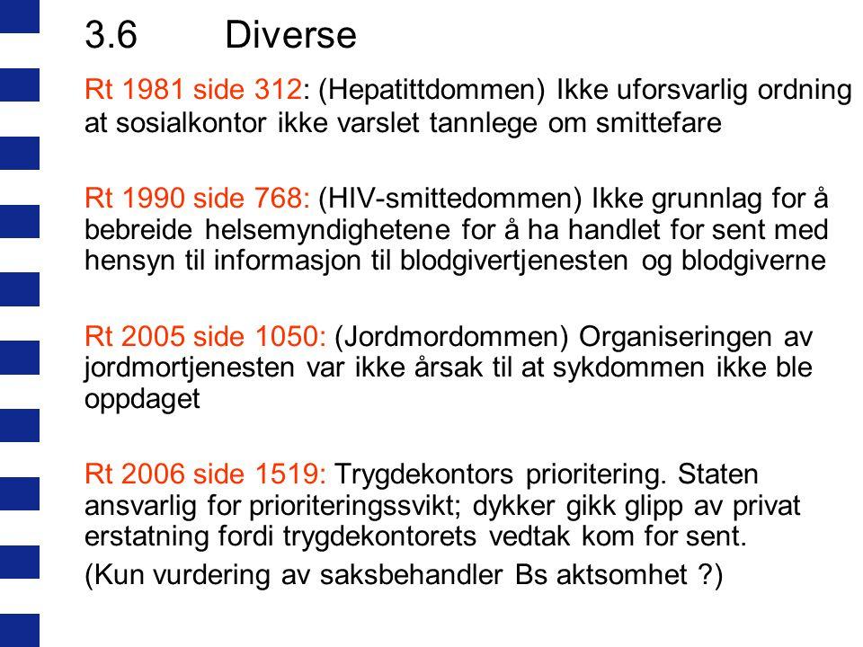 3.6 Diverse Rt 1981 side 312: (Hepatittdommen) Ikke uforsvarlig ordning at sosialkontor ikke varslet tannlege om smittefare.
