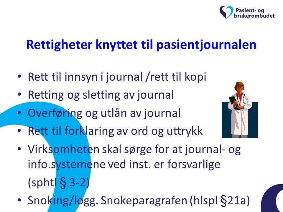 Rettigheter knyttet til pasientjournalen