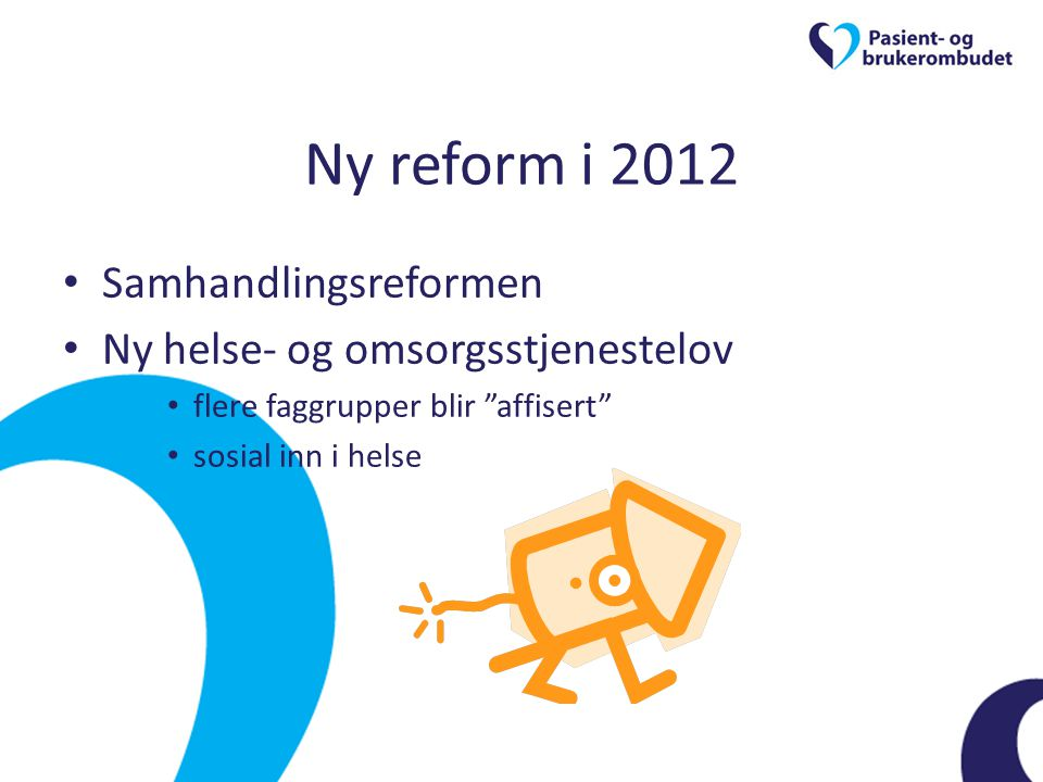 Ny reform i 2012 Samhandlingsreformen Ny helse- og omsorgsstjenestelov