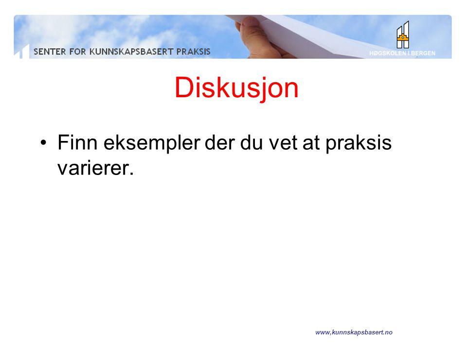 Diskusjon Finn eksempler der du vet at praksis varierer.