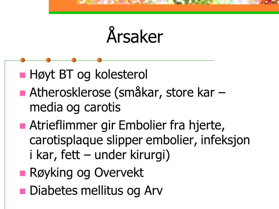 Årsaker Høyt BT og kolesterol