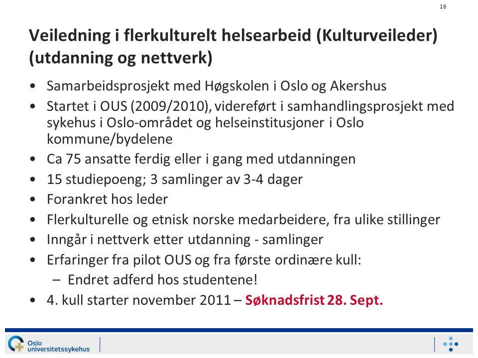 Veiledning i flerkulturelt helsearbeid (Kulturveileder) (utdanning og nettverk)