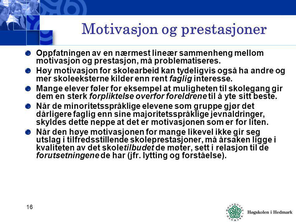 Motivasjon og prestasjoner
