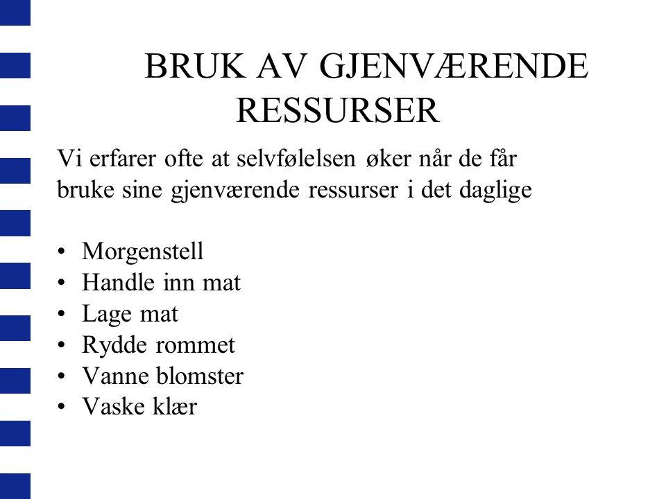 BRUK AV GJENVÆRENDE RESSURSER