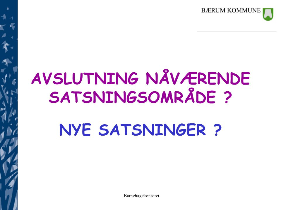AVSLUTNING NÅVÆRENDE SATSNINGSOMRÅDE