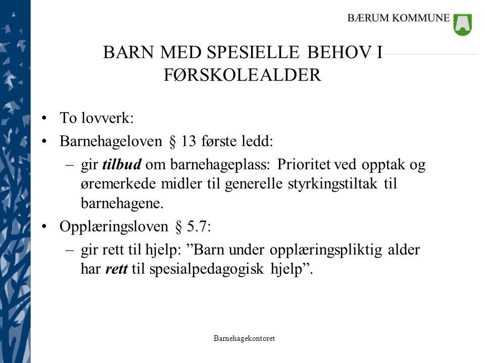 BARN MED SPESIELLE BEHOV I FØRSKOLEALDER