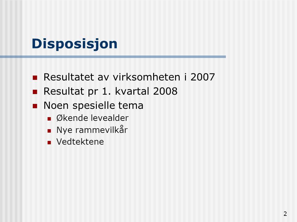 Disposisjon Resultatet av virksomheten i 2007