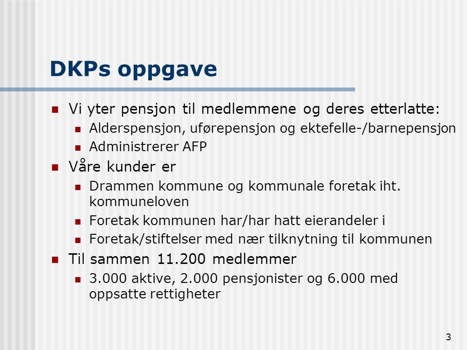 DKPs oppgave Vi yter pensjon til medlemmene og deres etterlatte: