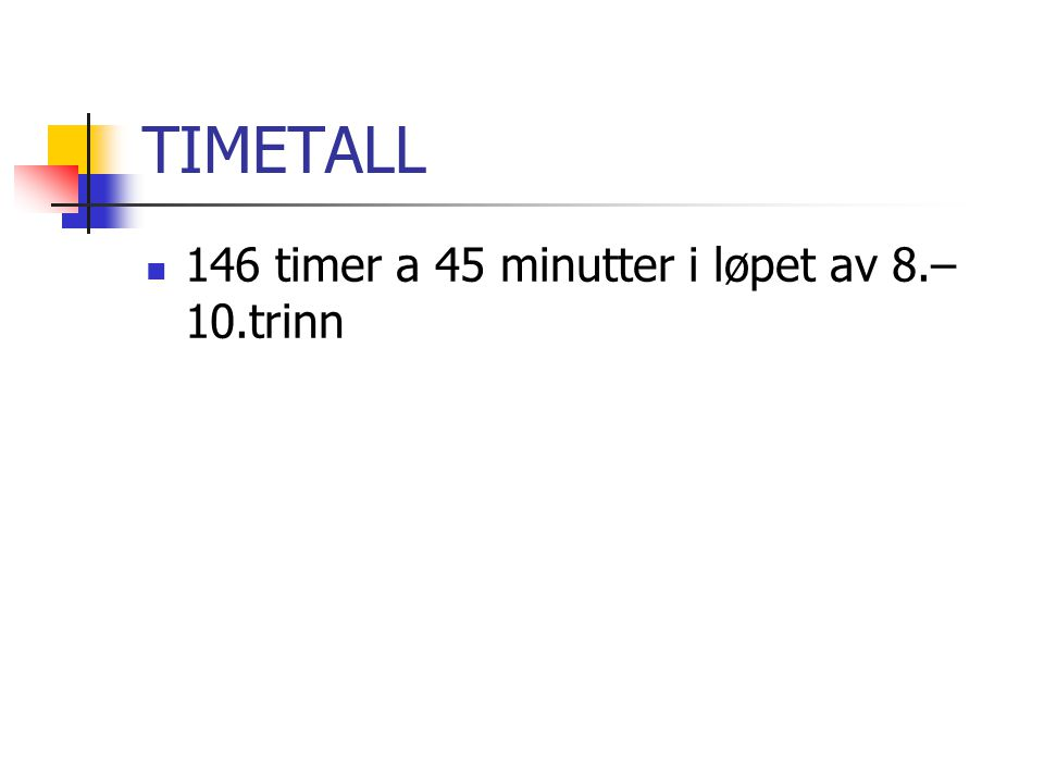 TIMETALL 146 timer a 45 minutter i løpet av 8.– 10.trinn