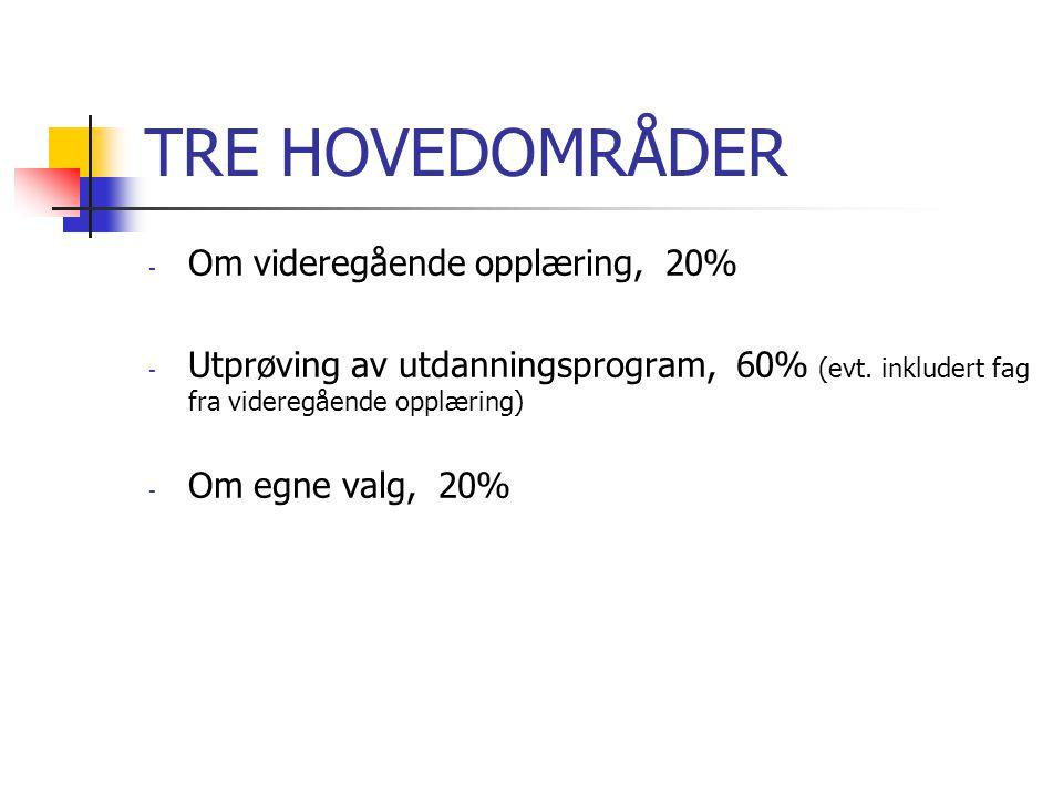TRE HOVEDOMRÅDER Om videregående opplæring, 20%