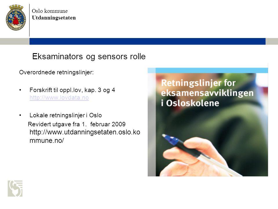 Eksaminators og sensors rolle