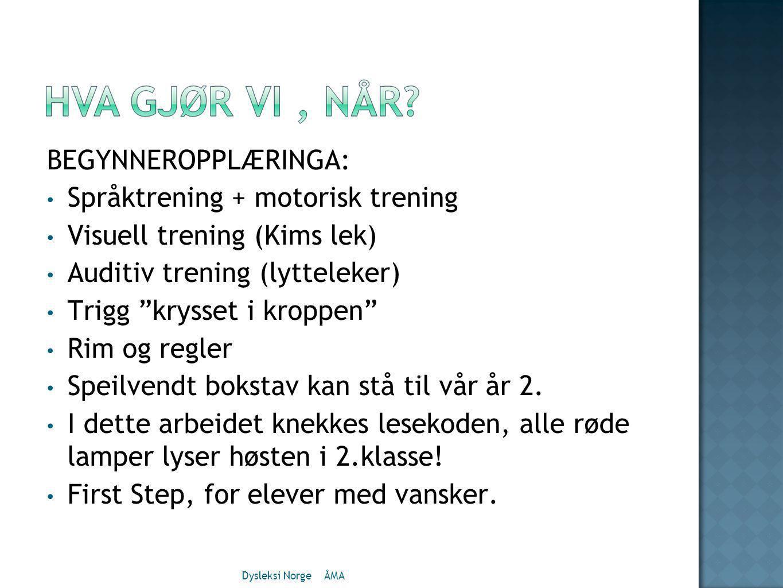 Språktrening + motorisk trening Visuell trening (Kims lek)
