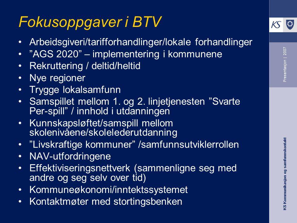 Fokusoppgaver i BTV Arbeidsgiveri/tarifforhandlinger/lokale forhandlinger. AGS 2020 – implementering i kommunene.