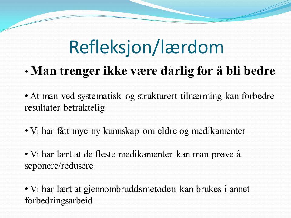 Refleksjon/lærdom Man trenger ikke være dårlig for å bli bedre