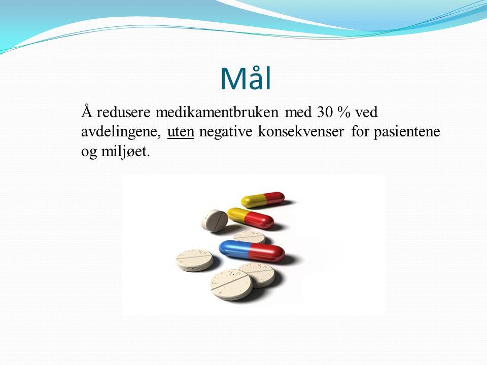 Mål Å redusere medikamentbruken med 30 % ved avdelingene, uten negative konsekvenser for pasientene og miljøet.