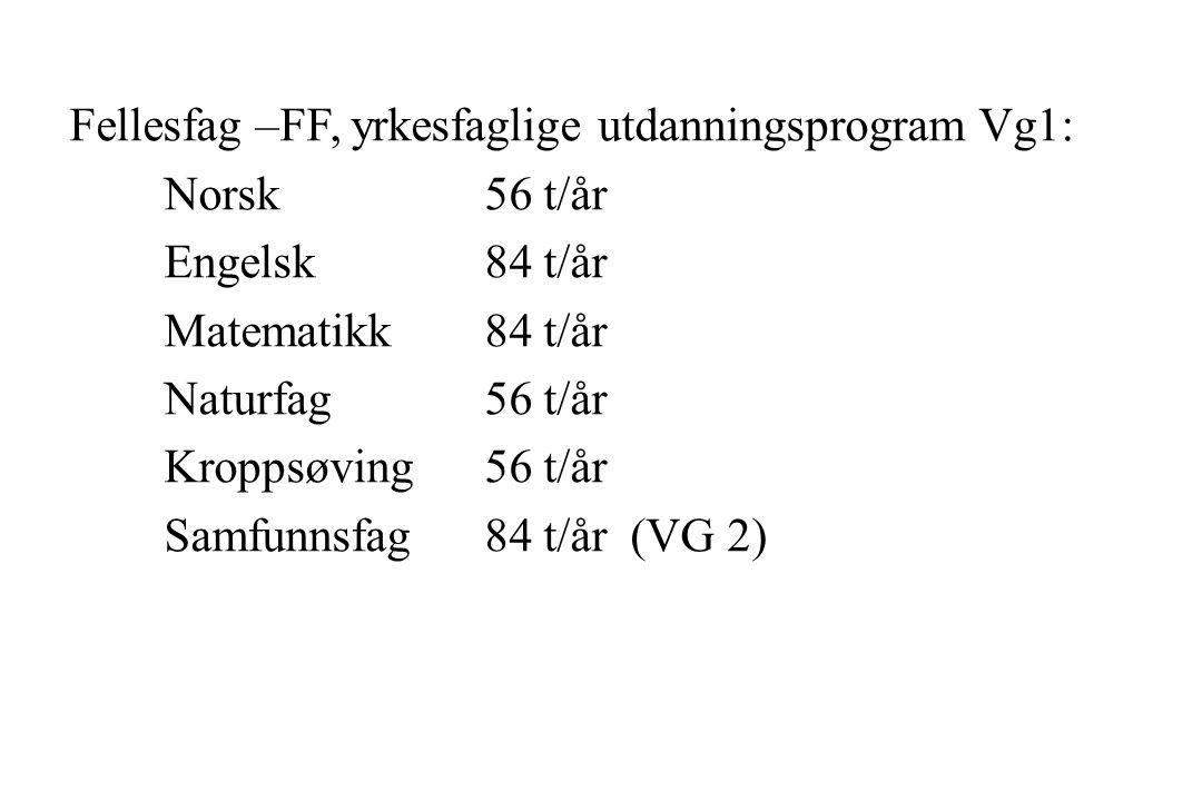 Fellesfag –FF, yrkesfaglige utdanningsprogram Vg1: