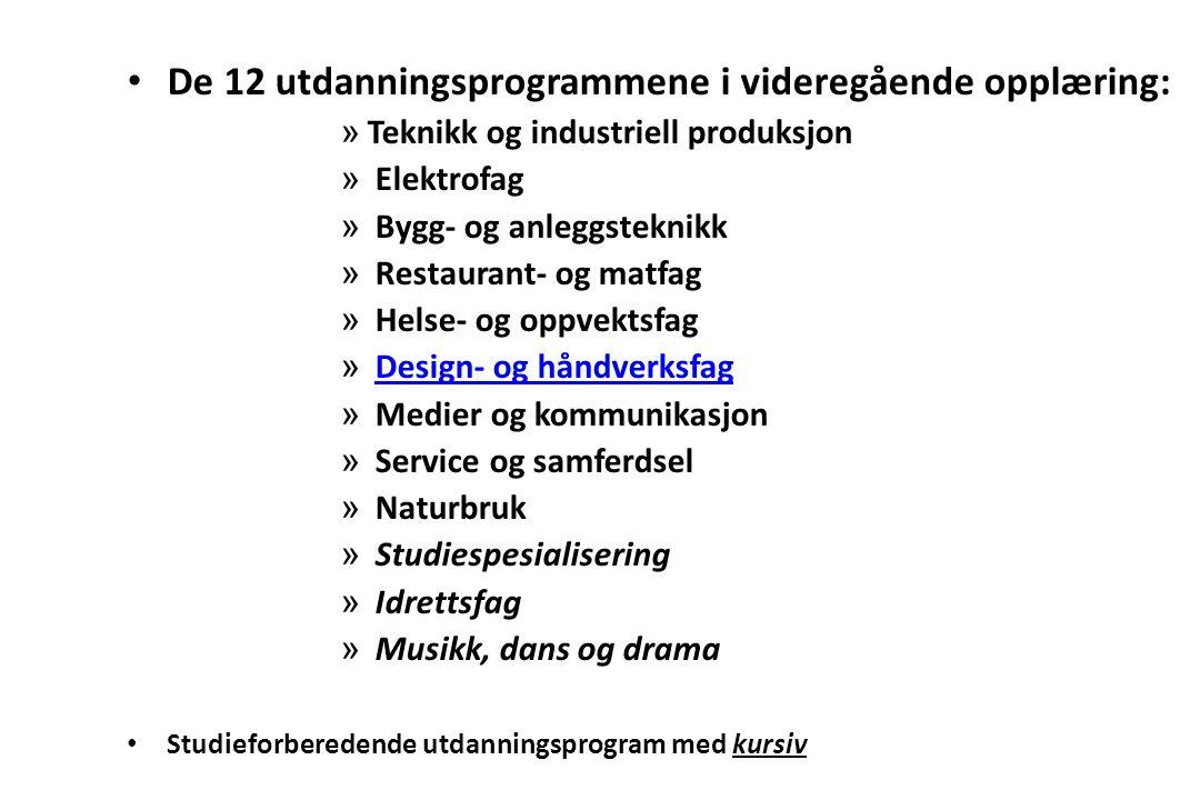 De 12 utdanningsprogrammene i videregående opplæring: