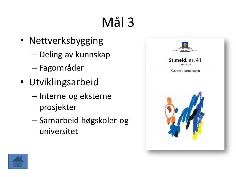 Mål 3 Nettverksbygging Utviklingsarbeid Deling av kunnskap Fagområder