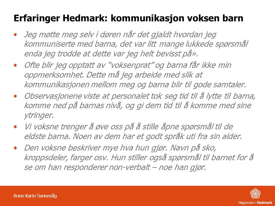 Erfaringer Hedmark: kommunikasjon voksen barn