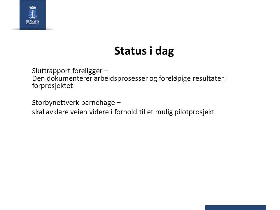 Status i dag Sluttrapport foreligger – Den dokumenterer arbeidsprosesser og foreløpige resultater i forprosjektet.