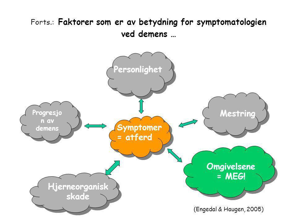 Forts.: Faktorer som er av betydning for symptomatologien ved demens …