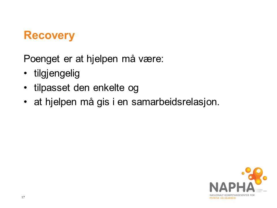 Recovery Poenget er at hjelpen må være: tilgjengelig