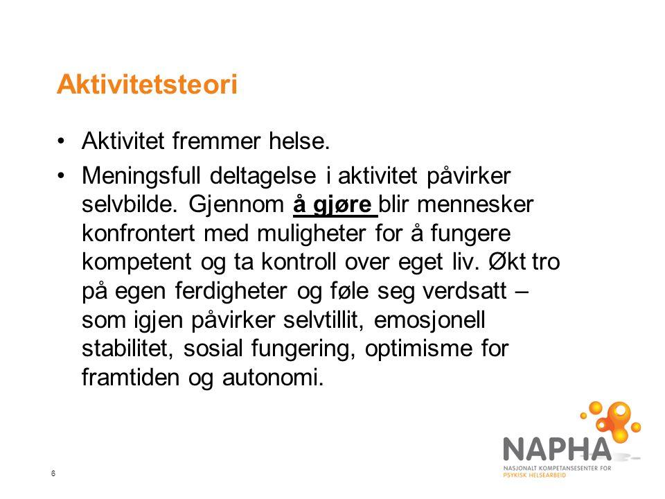 Aktivitetsteori Aktivitet fremmer helse.