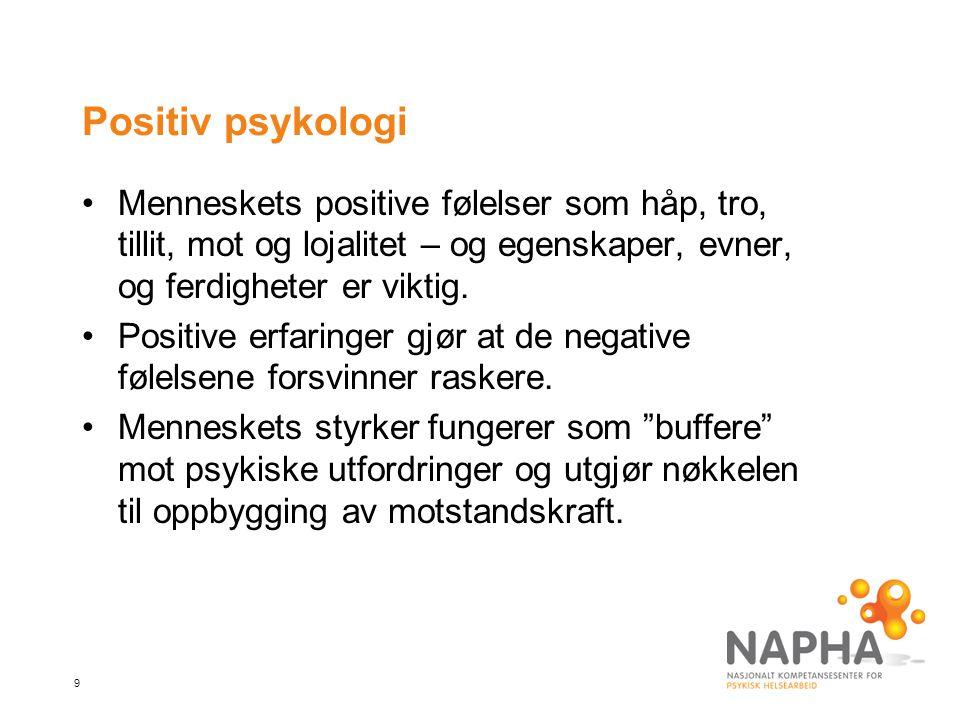 Positiv psykologi Menneskets positive følelser som håp, tro, tillit, mot og lojalitet – og egenskaper, evner, og ferdigheter er viktig.