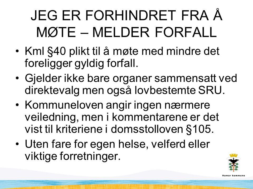 JEG ER FORHINDRET FRA Å MØTE – MELDER FORFALL