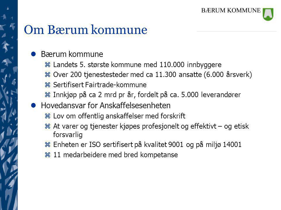 Om Bærum kommune Bærum kommune Hovedansvar for Anskaffelsesenheten