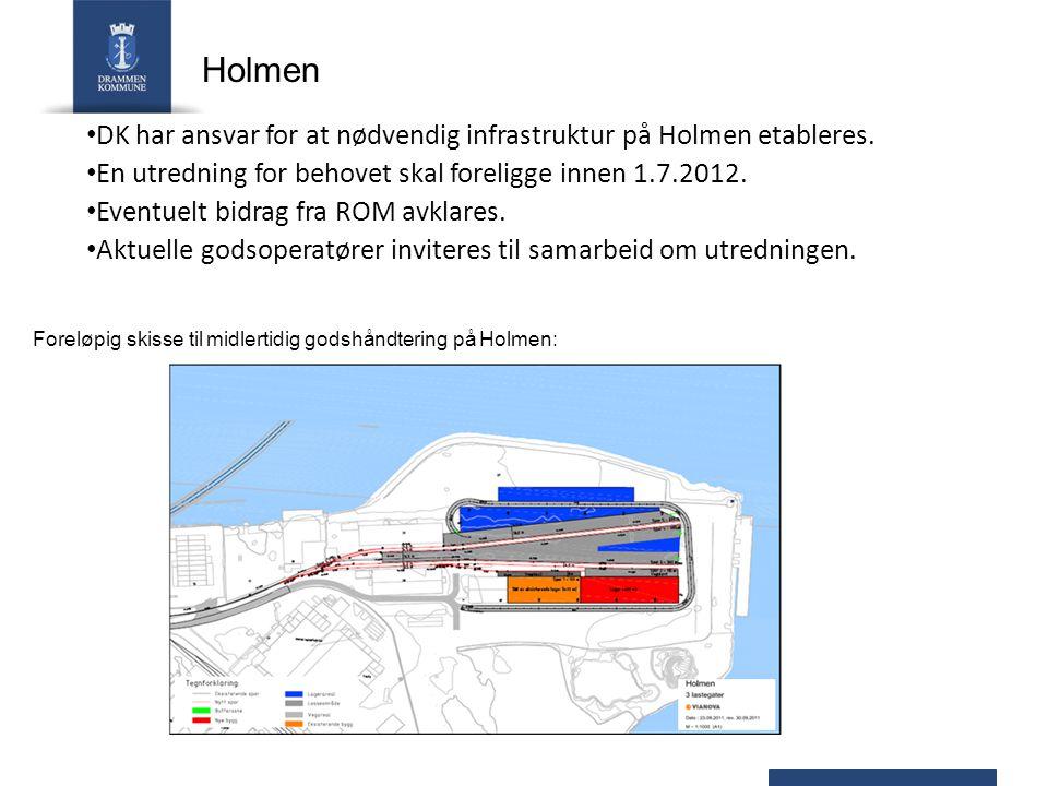 Holmen DK har ansvar for at nødvendig infrastruktur på Holmen etableres. En utredning for behovet skal foreligge innen 1.7.2012.
