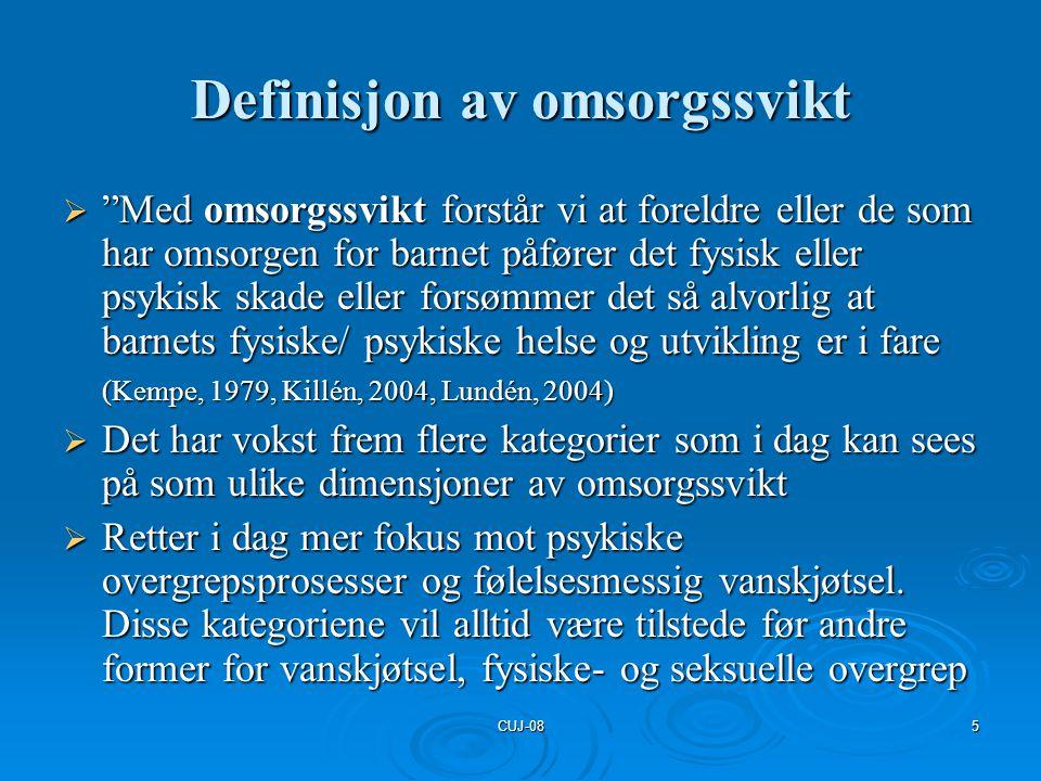 Definisjon av omsorgssvikt