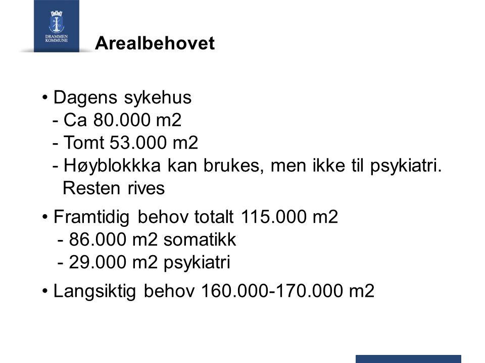 Arealbehovet Dagens sykehus - Ca 80.000 m2. - Tomt 53.000 m2. - Høyblokkka kan brukes, men ikke til psykiatri. Resten rives.