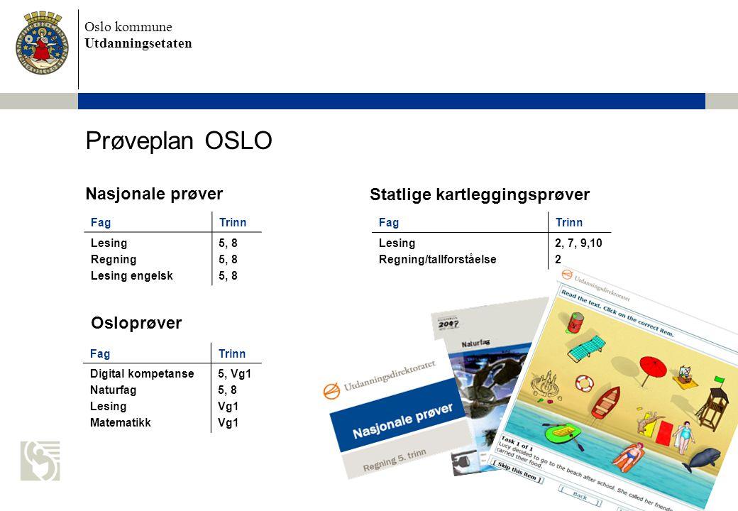 Prøveplan OSLO Nasjonale prøver Statlige kartleggingsprøver Osloprøver