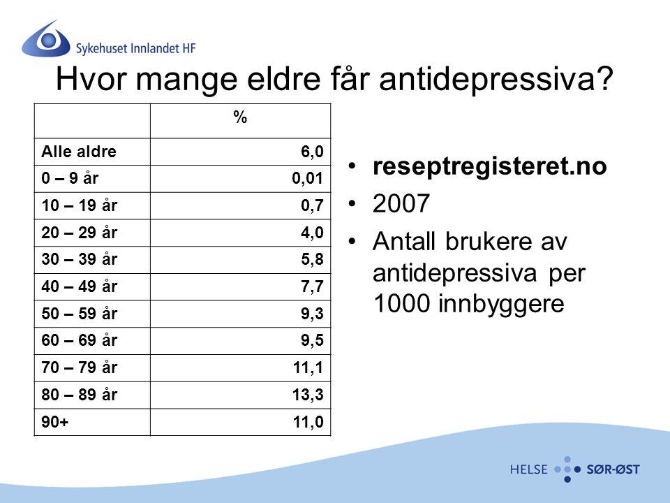 Hvor mange eldre får antidepressiva