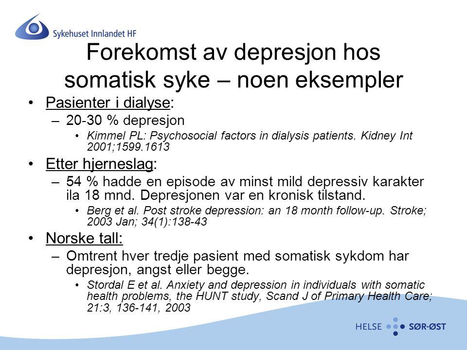 Forekomst av depresjon hos somatisk syke – noen eksempler