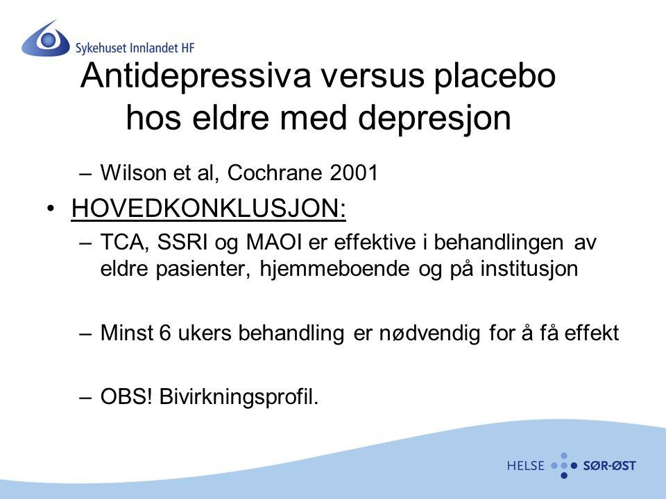 Antidepressiva versus placebo hos eldre med depresjon