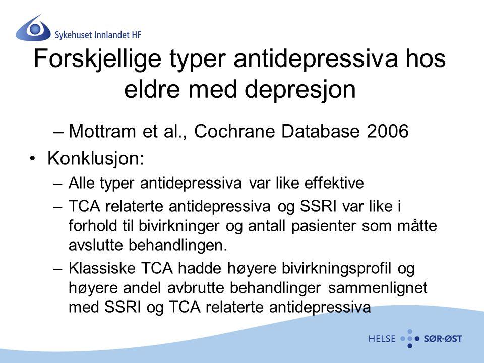 Forskjellige typer antidepressiva hos eldre med depresjon