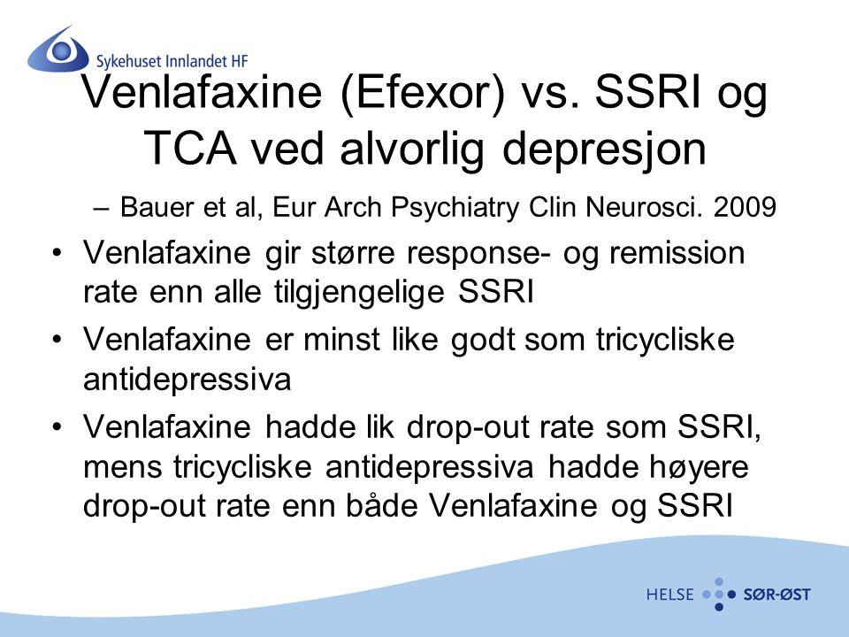 Venlafaxine (Efexor) vs. SSRI og TCA ved alvorlig depresjon
