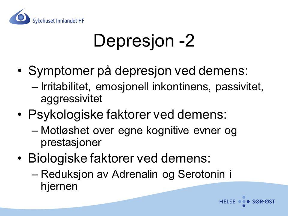Depresjon -2 Symptomer på depresjon ved demens: