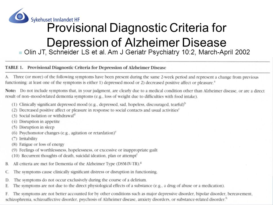 Provisional Diagnostic Criteria for Depression of Alzheimer Disease