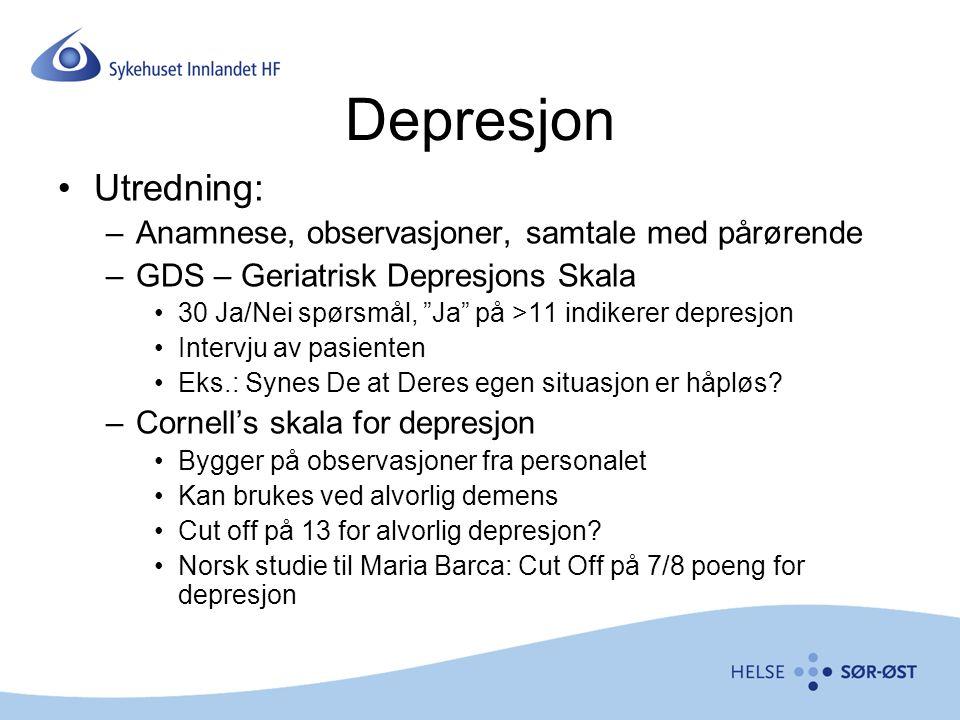 Depresjon Utredning: Anamnese, observasjoner, samtale med pårørende