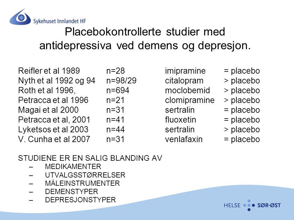 Placebokontrollerte studier med antidepressiva ved demens og depresjon.