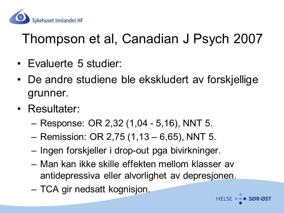 Thompson et al, Canadian J Psych 2007