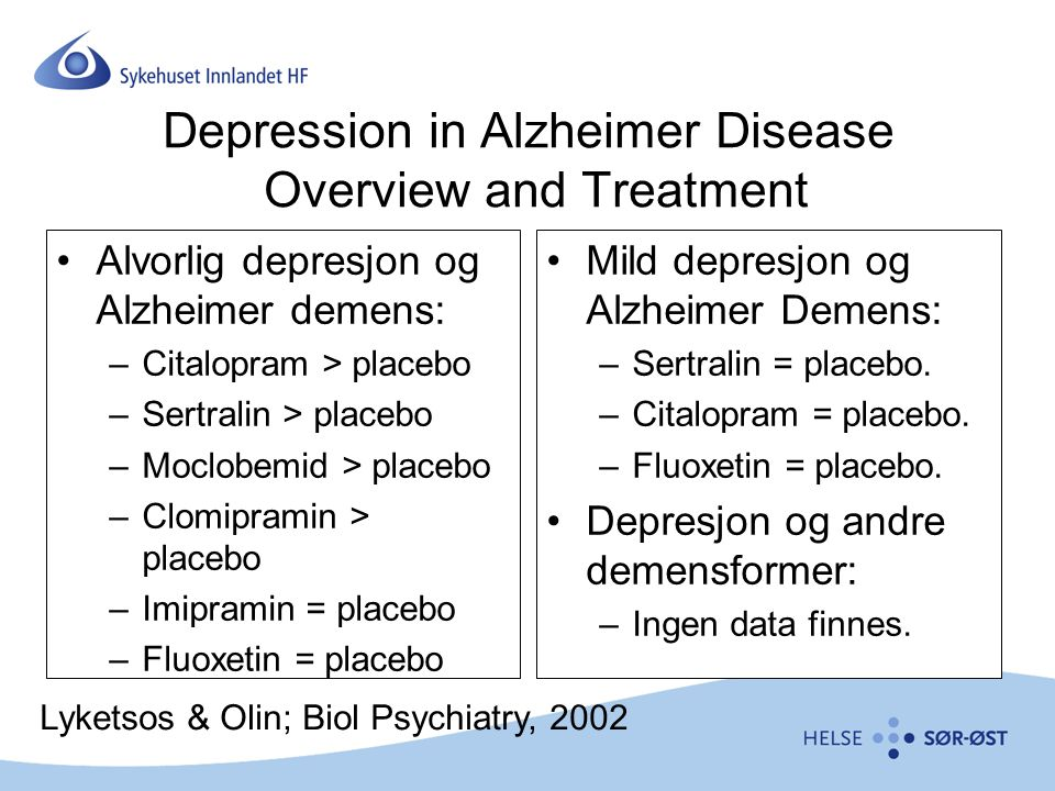 Depression in Alzheimer Disease Overview and Treatment