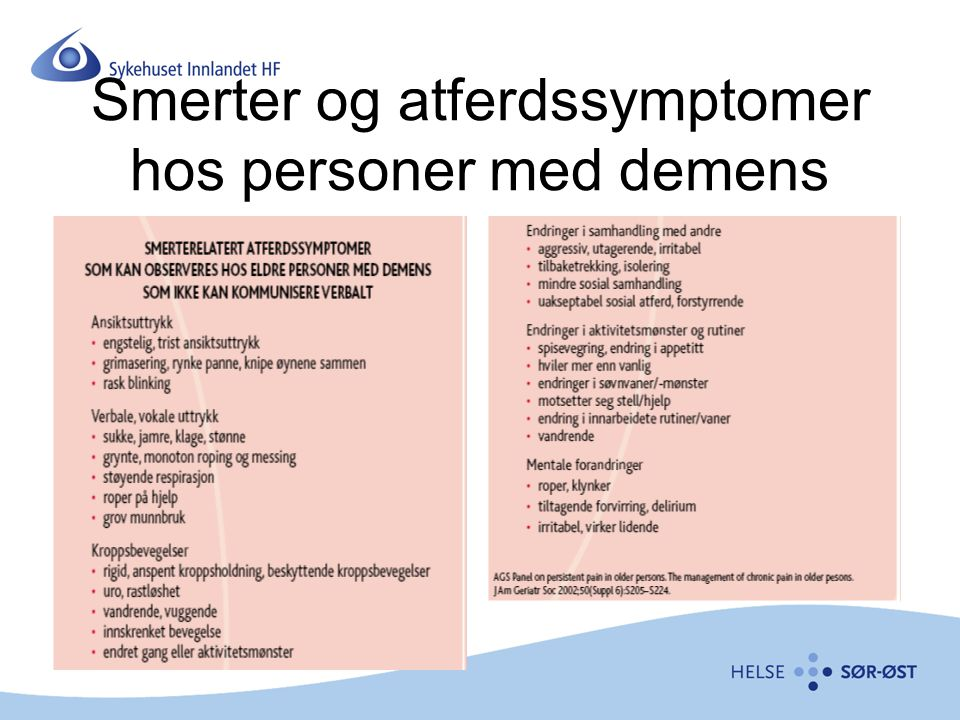 Smerter og atferdssymptomer hos personer med demens