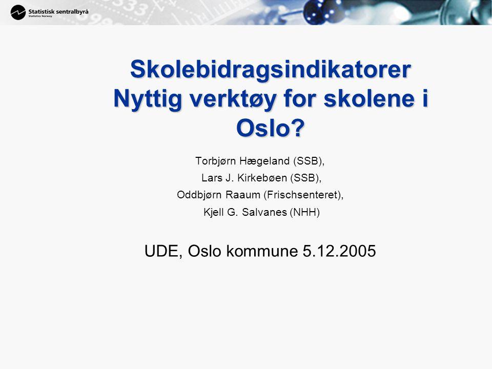 Skolebidragsindikatorer Nyttig verktøy for skolene i Oslo