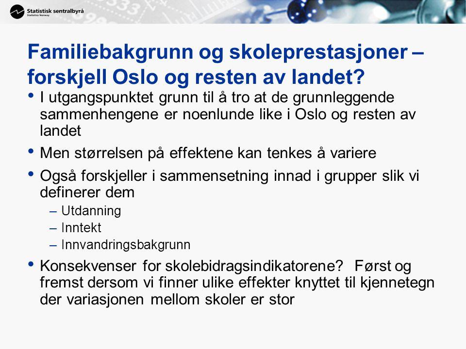 Familiebakgrunn og skoleprestasjoner – forskjell Oslo og resten av landet