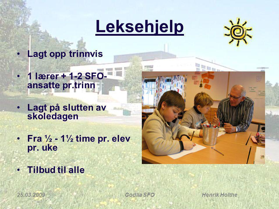 Leksehjelp Lagt opp trinnvis 1 lærer + 1-2 SFO-ansatte pr.trinn